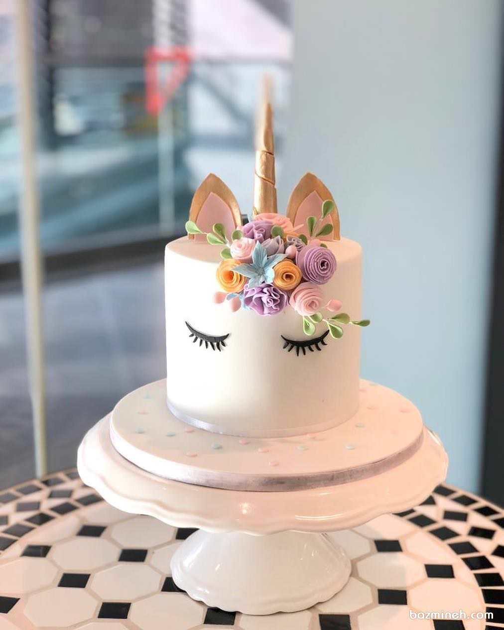 مینی کیک رویایی جشن تولد کودک با تم یونیکورن (اسب تک شاخ)