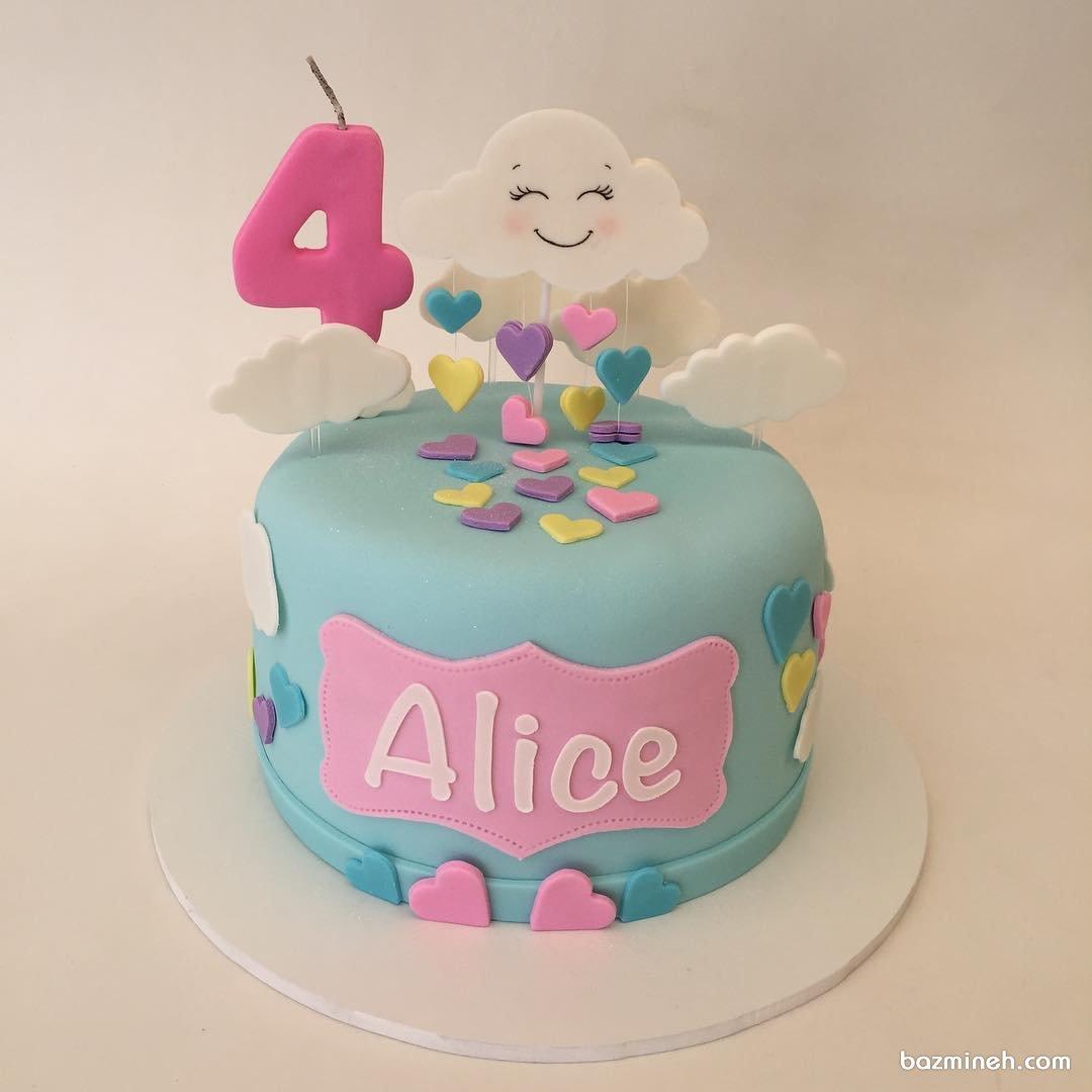 مینی کیک جشن تولد دخترونه با تم ابر و رنگین کمان