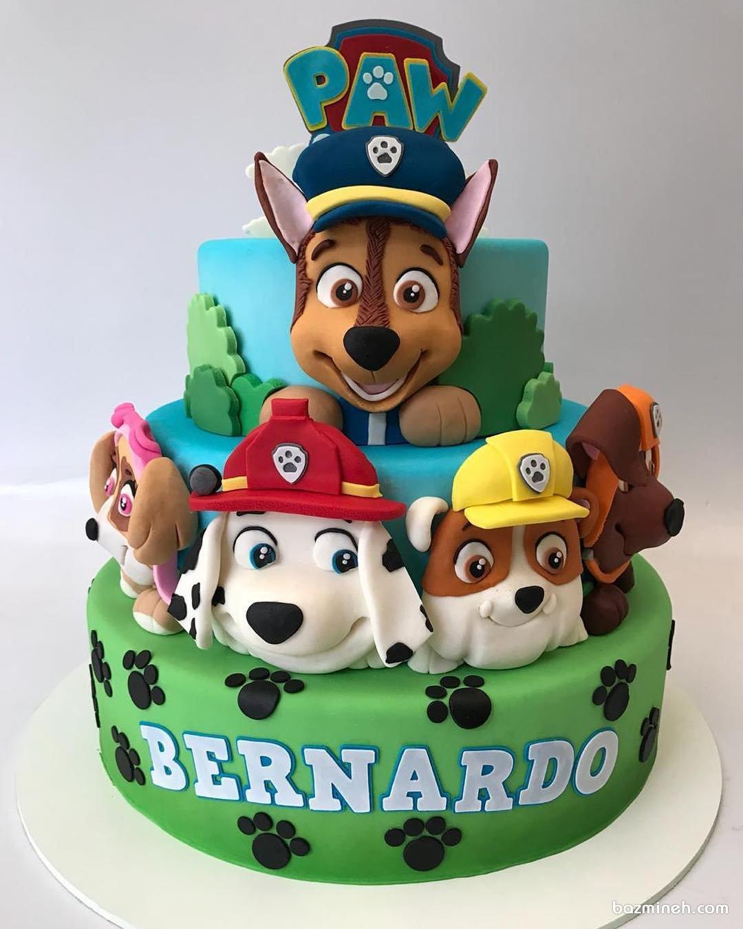 کیک فوندانت جشن تولد پسرونه با تم سگهای نگهبان