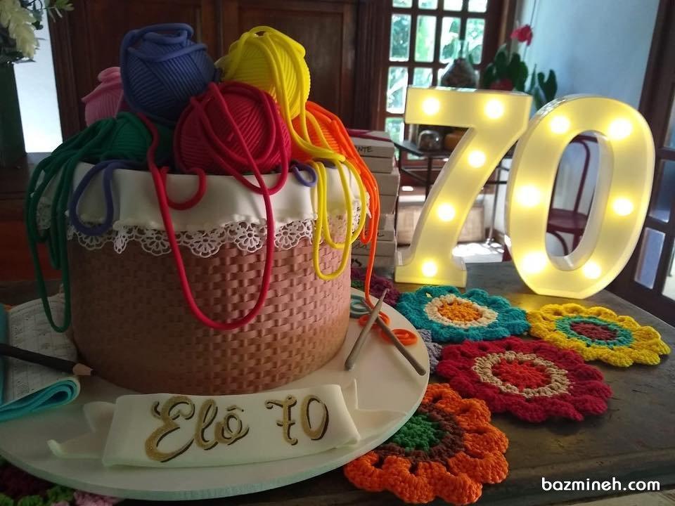 کیک فوندانت جشن تولد بزرگسال با تم کاموا و بافتنی مناسب مامان بزرگای مهربون
