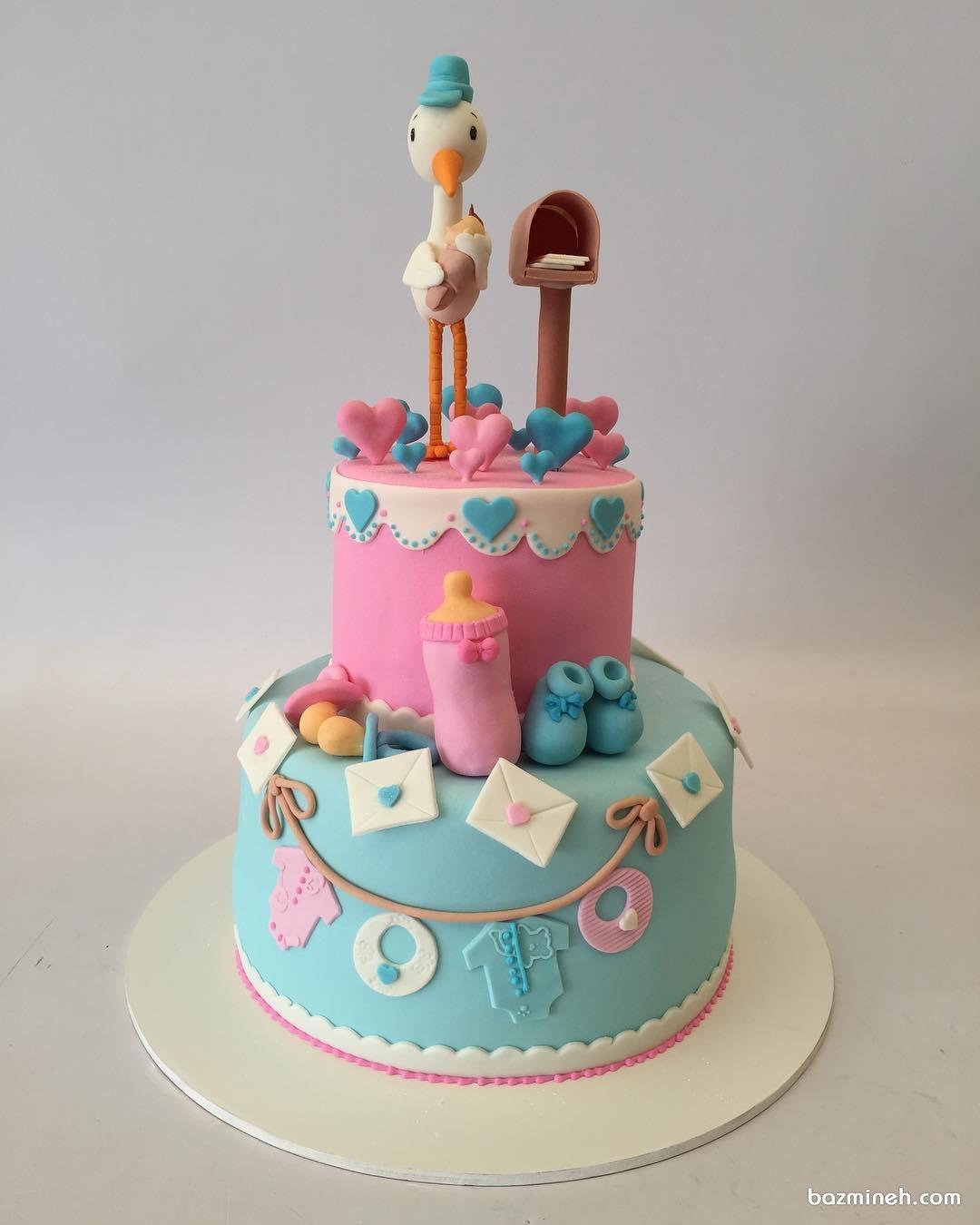کیک بامزه جشن بیبی شاور یا تعیین جنسیت با تم لک لک