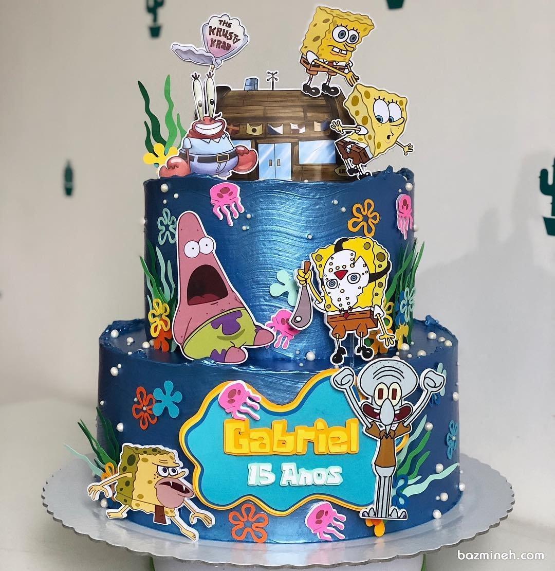 کیک دو طبقه کارتونی جشن تولد کودک با تم باب اسفنجی