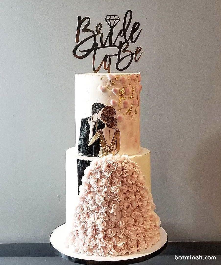 کیک خامهای دو طبقه جشن نامزدی