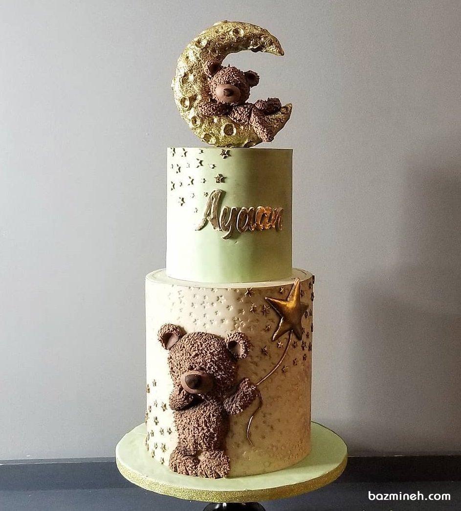 کیک دو طبقه جشن تولد کودک با تم خرس تدی