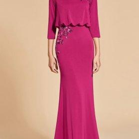 لباس مجلسی پوشیده آستین سه ربع با پارچه ریون سرخابی رنگ مدلی زیبا برای ساقدوشهای عروس