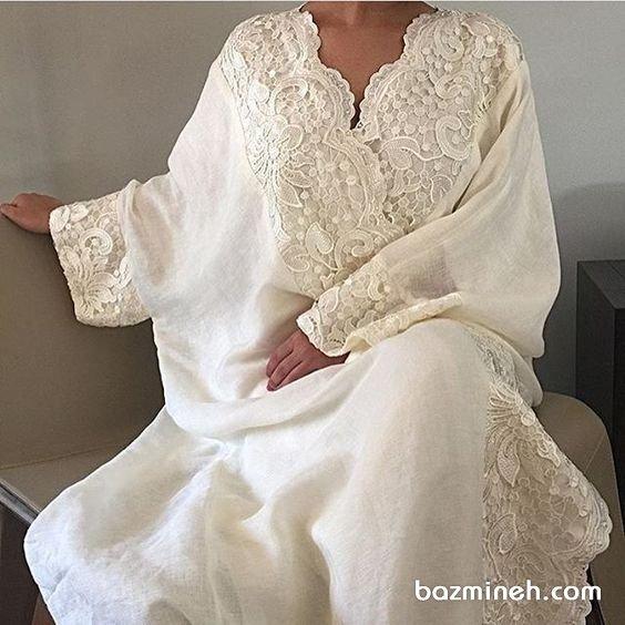 مانتو عقد سفید رنگ عبایی مدلی زیبا برای عروس خانمهای ساده پسند