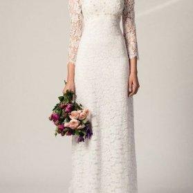 مدل لباس نامزدی ماکسی آستیندار با پارچه گیپور سفید رنگ