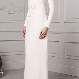 پیراهن ساده و شیک ماکسی آستین دار با یقه مدل کراواتی زیبا برای مراسم عقد محضری