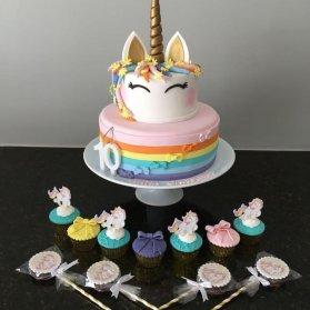 کیک دو طبقه، کاپ کیک و پاپ کیکهای جشن تولد دخترونه با تم یونیکورن (اسب تک شاخ)