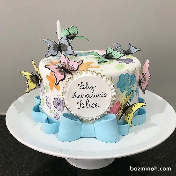 مینی کیک جشن تولد دخترونه با تم پروانههای رنگی