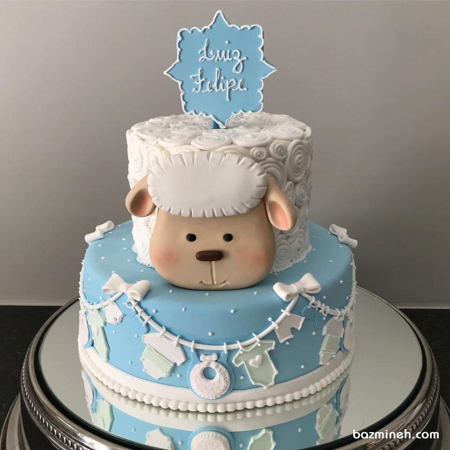 کیک دو طبقه جشن تعیین جنسیت یا بیبی شاور با تم سفید آبی
