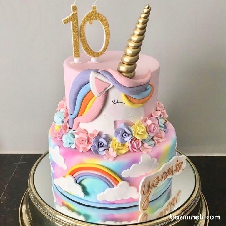 کیک دو طبقه فوندانت جشن تولد دخترونه با تم یونیکورن (Unicorn)