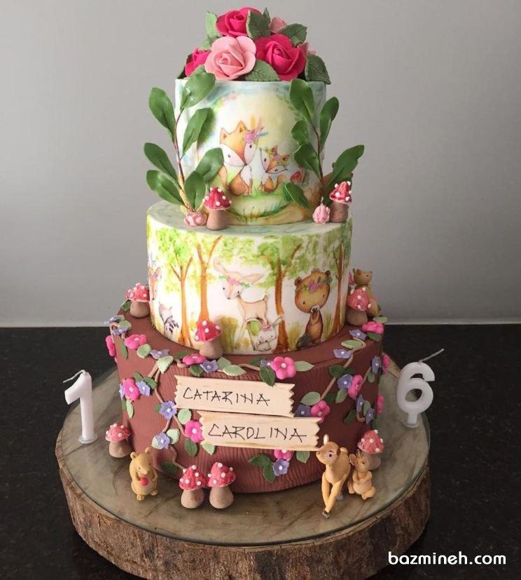 کیک سه طبقه فوندانت جشن تولد کودک با تم حیوانات جنگل