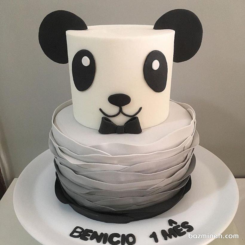 کیک دو طبقه فوندانت جشن تولد کودک با تم پاندا