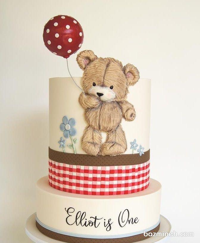 کیک جشن تولد یکسالگی کودک با تم خرسی