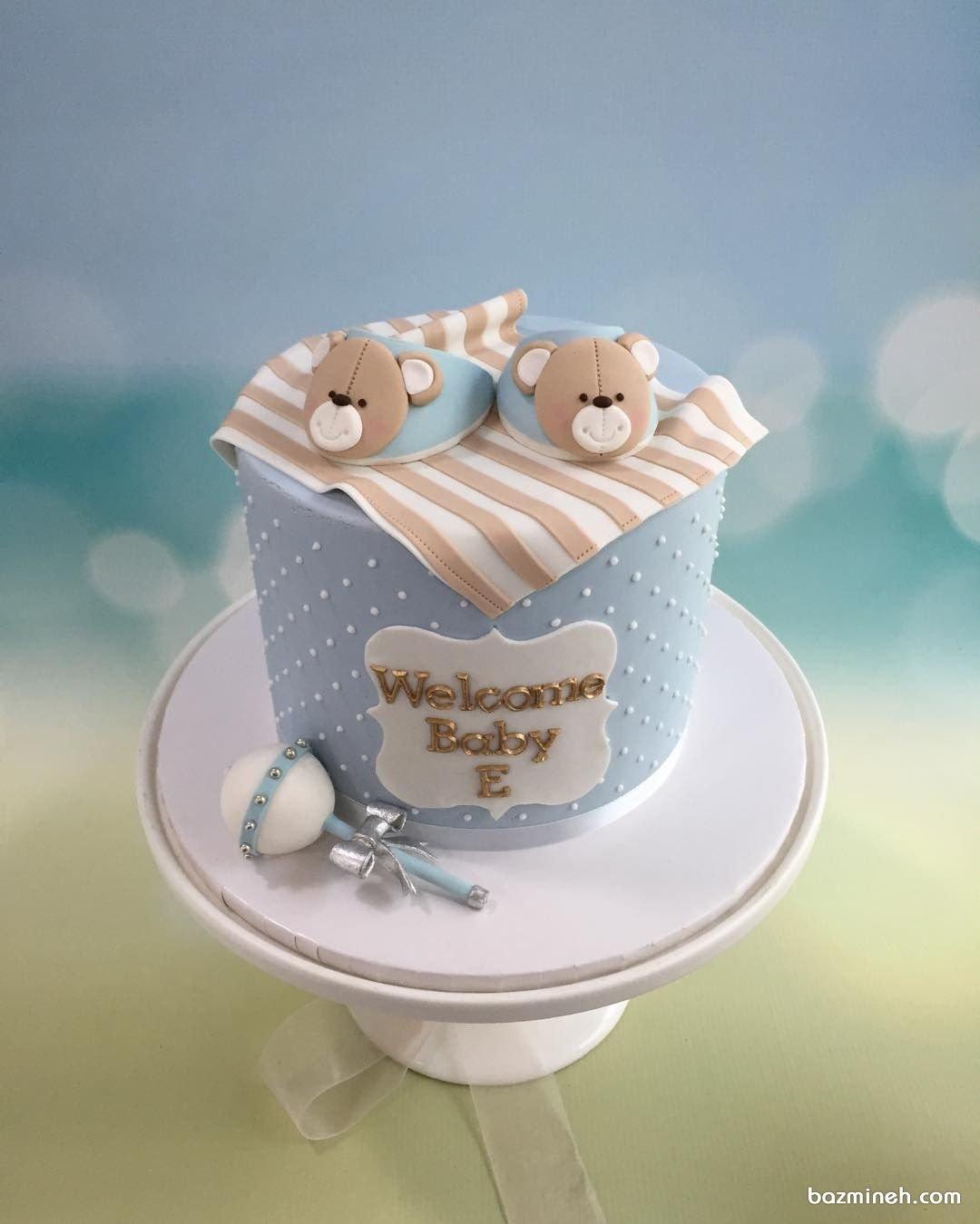مینی کیک عروسکی جشن تعیین جنسیت یا بیبی شاور پسرونه با تم خرس تدی