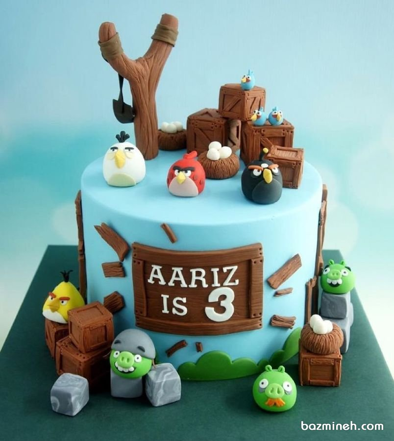 مینی کیک فوندانت جشن تولد کودک با تم پرنده های خشمگین (Angry Birds)