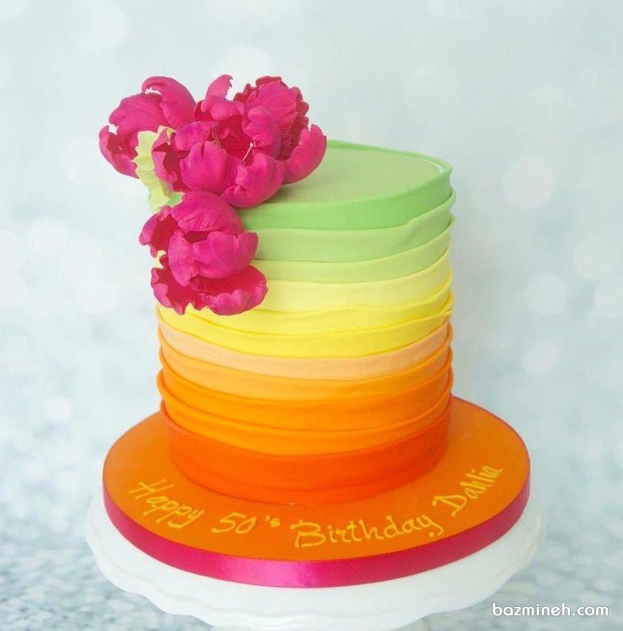 کیک خامهای جشن تولد بزرگسال با تم رنگارنگ