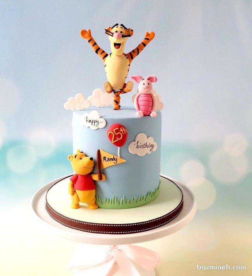کیک فوندانت جشن تولد کودک با تم پو و دوستان