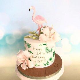 مینی کیک رویایی جشن تولد بزرگسال با تم فلامینگو