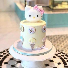 مینی کیک فوندانت جشن تولد دخترونه با تم هلو کیتی (Hello Kitty)