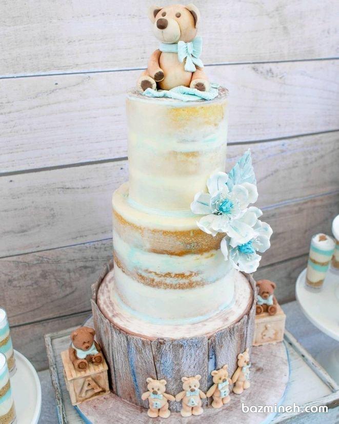 کیک چند طبقه عروسکی جشن تولد کودک با تم خرس تدی