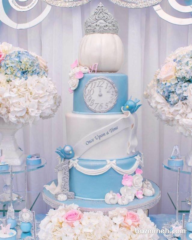 کیک چند طبقه جشن تولد دخترونه با تم سیندرلا