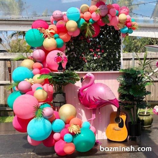 دکوراسیون و بادکنک آرایی شاد و رنگی جشن تولد دخترونه با تم فلامینگو صورتی