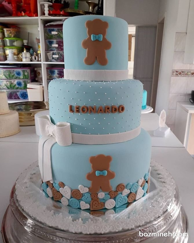 کیک سه طبقه فوندانت جشن تولدیا بیبی شاور پسرونه با تم خرس تدی