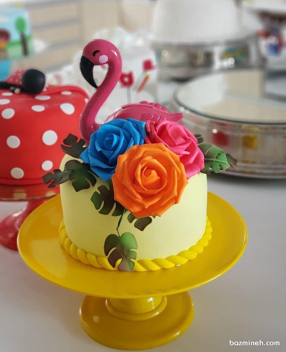 مینی کیک فانتزی جشن تولد بزرگسال با تم فلامینگو صورتی