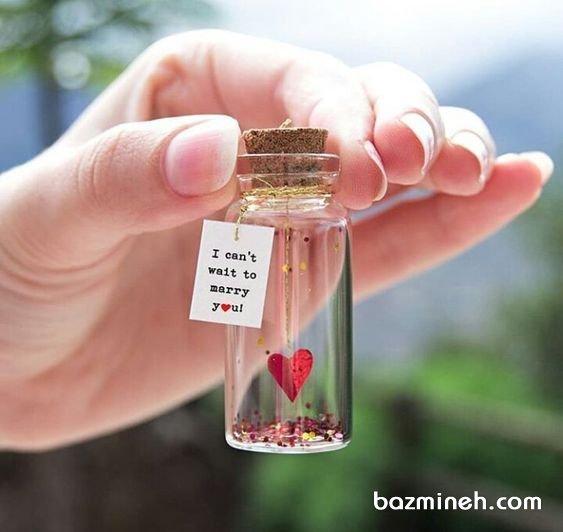 گیفت بطری جشن نامزدی یا عروسی با تم قلب