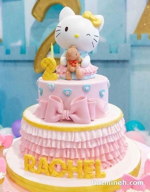 کیک دو طبقه فوندانت جشن تولد دخترونه با تم هلو کیتی (Hello Kitty)
