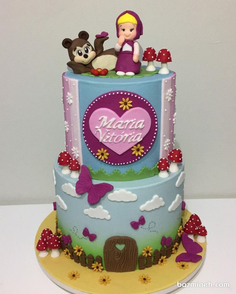 کیک دو طبقه فوندانت جشن تولد دخترونه با تم ماشا و میشا