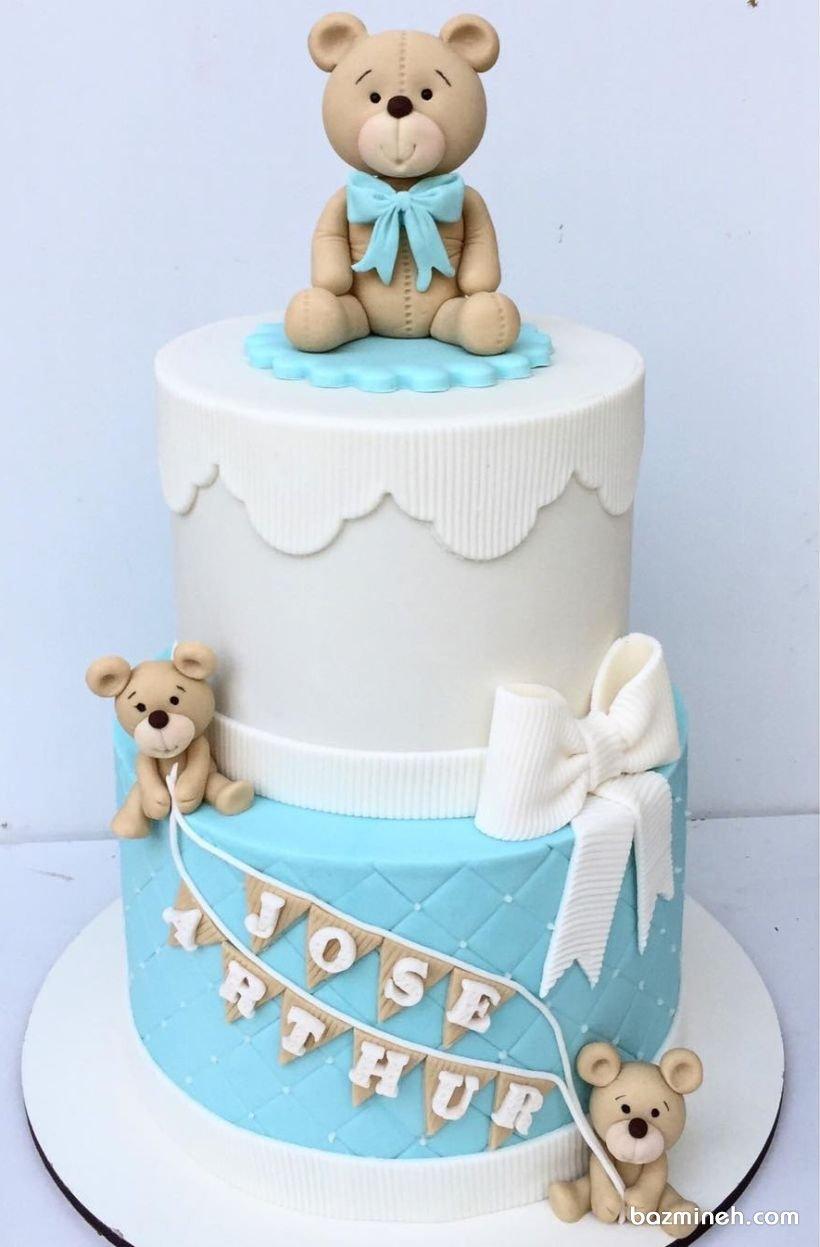کیک دو طبقه فوندانت جشن تعیین جنسیت یا بیبی شاور پسرونه با تم خرس تدی