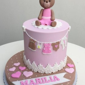 مینی کیک فانتزی جشن نوزاد یا بیبی شاور دخترونه با تم خرس تدی