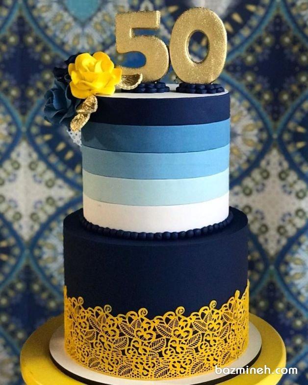 کیک دو طبقه شیک جشن تولد بزرگسال با تم سرمهای طلایی