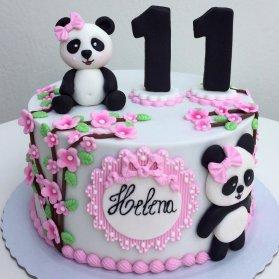 کیک بهاری فوندانت جشن تولد کودک با تم پاندا