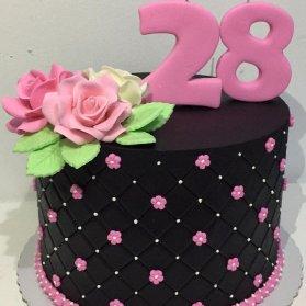 کیک یونیک جشن تولد بزرگسال با تم مشکی صورتی