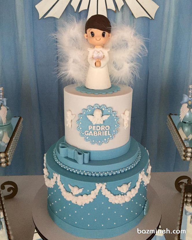 کیک دو طبقه جشن نوزاد یا بیبی شاور پسرونه با تم فرشته
