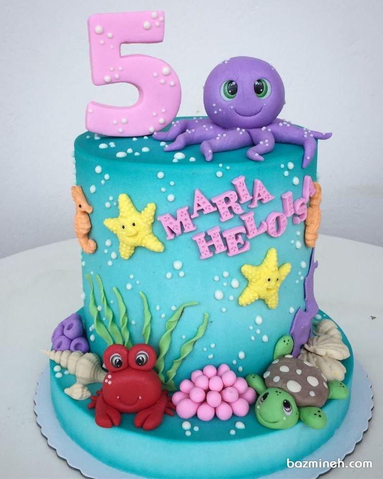 کیک جشن تولد کودک با تم موجودات دریایی