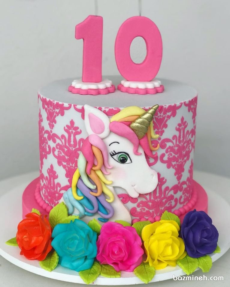 مینی کیک فانتزی جشن تولد دخترونه با تم اسب تک شاخ (Unicorn)