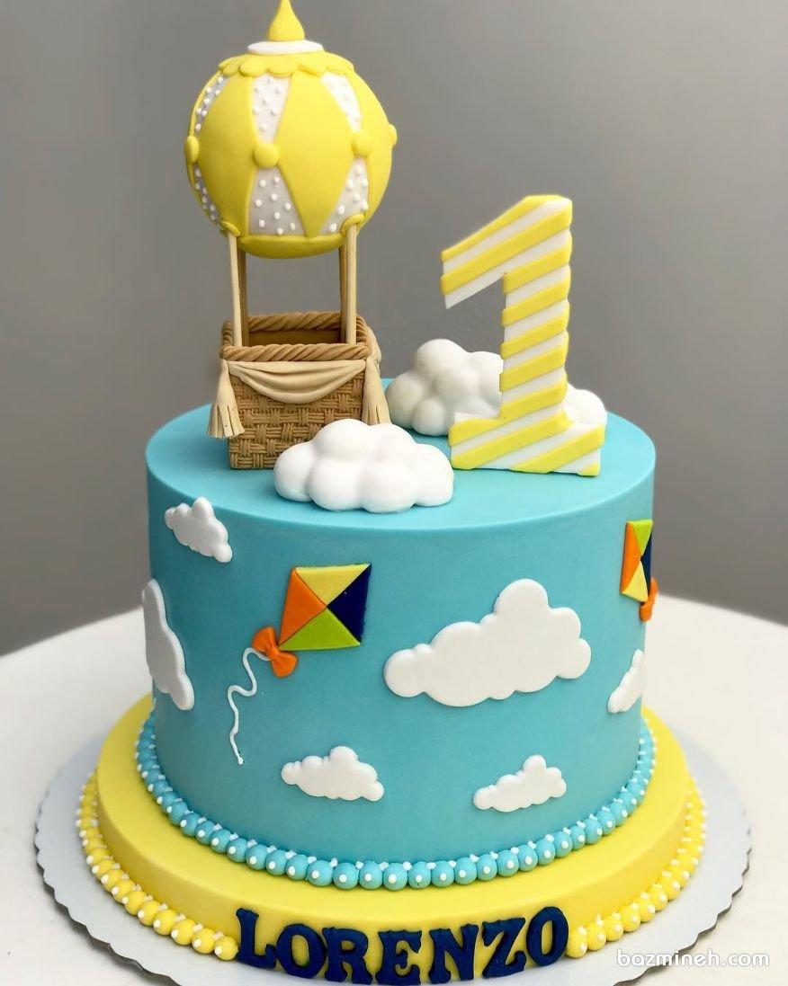 مینی کیک فوندانت جشن تولد یکسالگی کودک با تم بالون