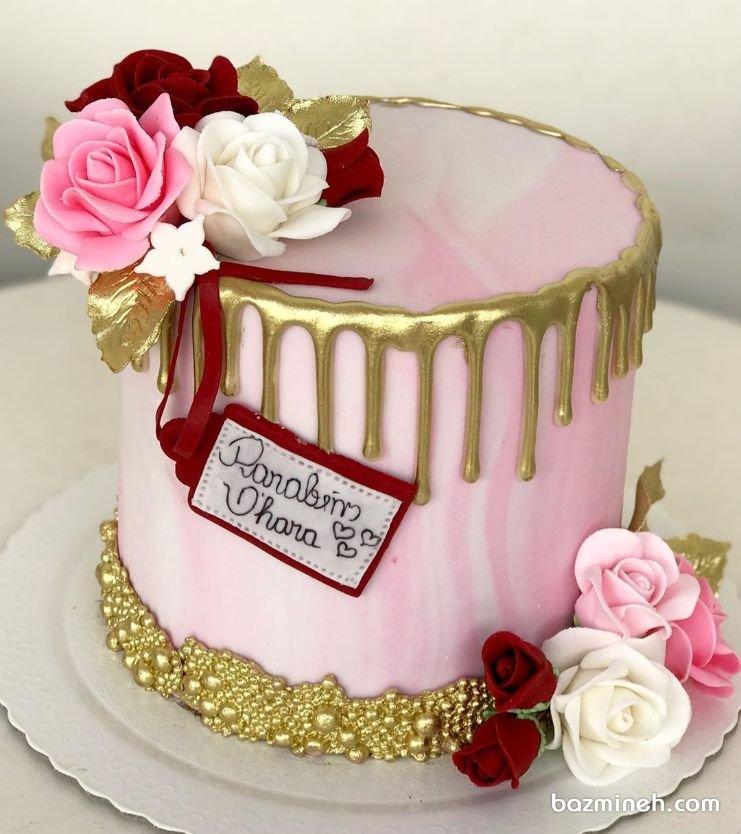 کیک رمانتیک جشن تولد بزرگسال با تم رنگی صورتی طلایی
