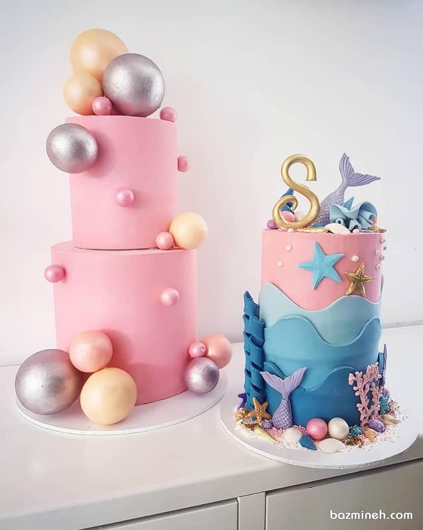 کیکهای چند طبقه خامهای جشن تولد دخترونه با تزیین فوندانت