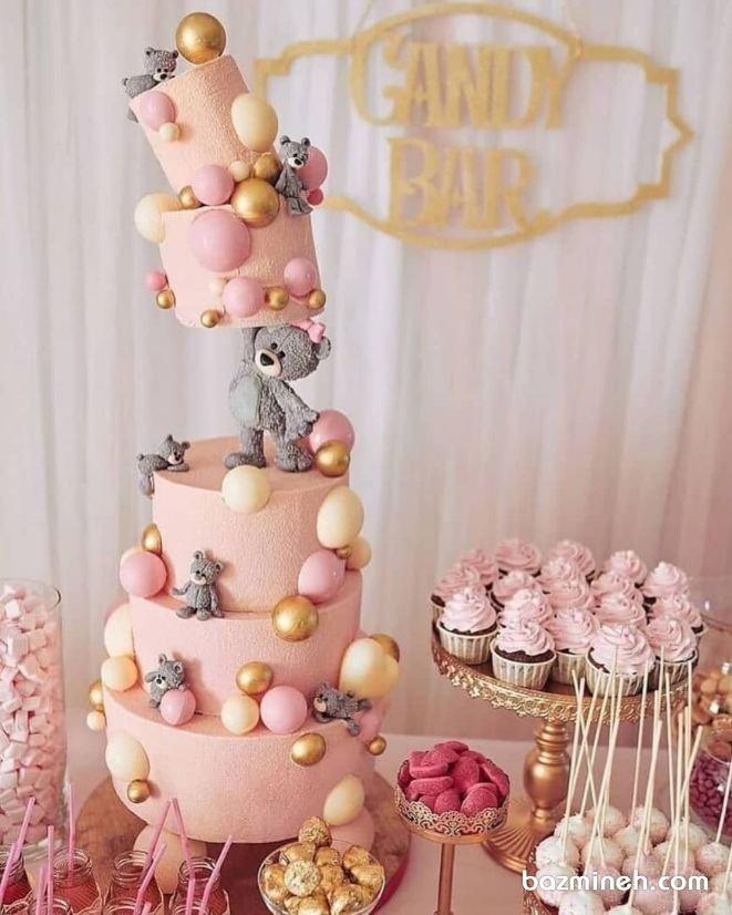 کیک چند طبقه و کاپ کیکهای فانتزی جشن تولد دخترونه با تم خرس تدی