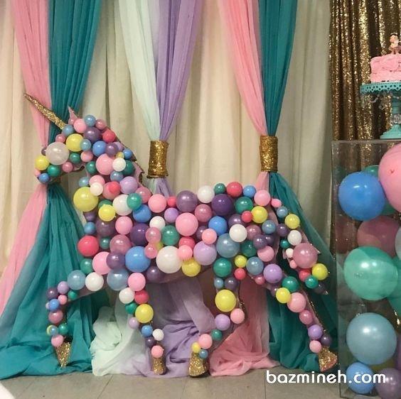 بادکنک آرایی یونیک جشن تولد دخترونه با تم اسب تک شاخ (Unicorn)