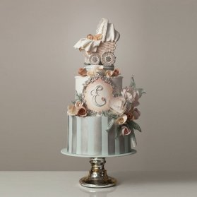 کیک چند طبقه رویایی فوندانت جشن تعیین جنسیت یا بیبی شاور پسرونه