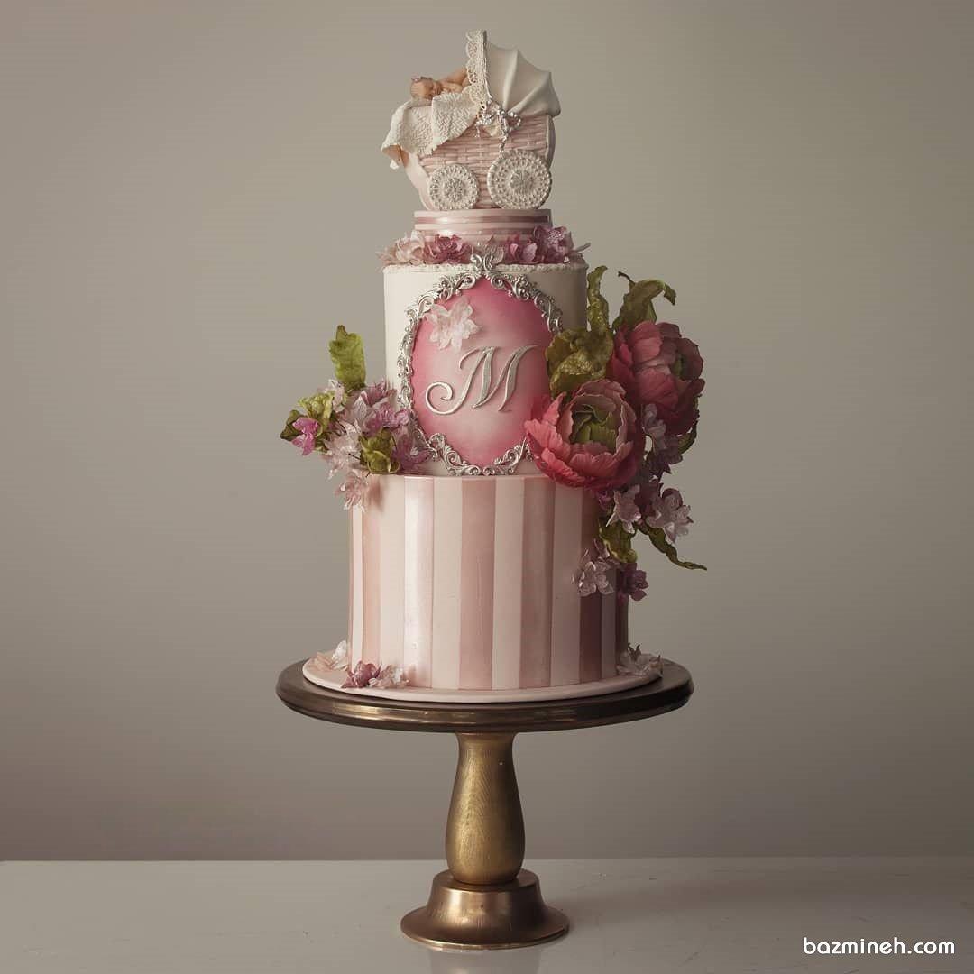 کیک دو طبقه فوندانت جشن نوزادی یا بیبی شاور دخترونه