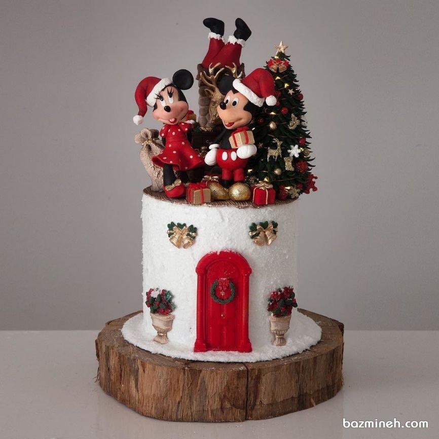 کیک عروسکی جشن تولد کودک با تم زمستانی میکی موس (Mickey Mouse)