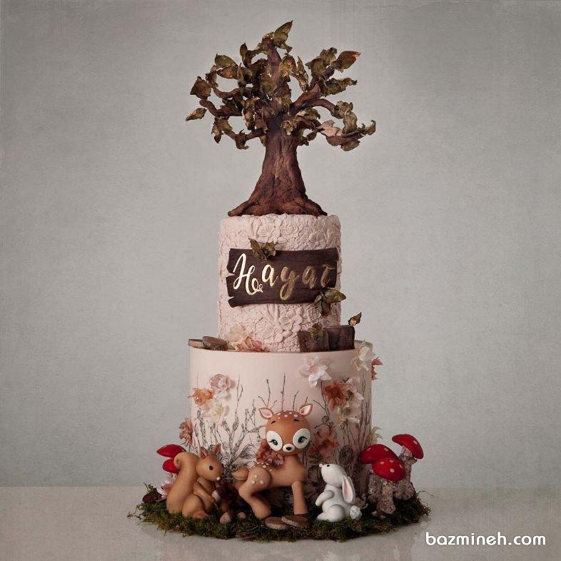 کیک دو طبقه یونیک جشن تولد کودک با تم جنگل